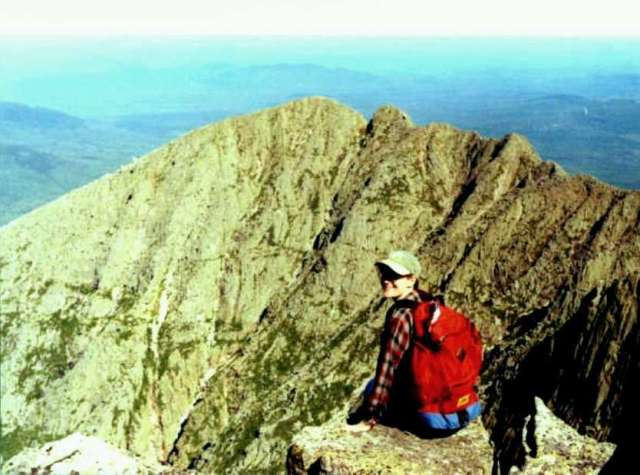 29 - Jean on Mt Katahdin, Maine-looking across to Knifes Edge - 2006